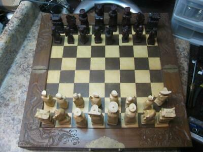Vintage Tall Hand Carved Wood Oriental Asian Chinese Japanese Chess Set & Board