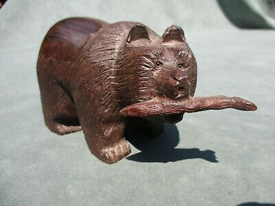 Vintage Japanese Carved  Hardwood Bear