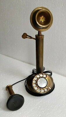 Brass Vintage Working Gandhi Style Candlestick Rotary Dial Handmade Telephone
