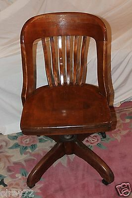 Antique Desk Chair Office Swivel Slat Back Circa Early 1930's