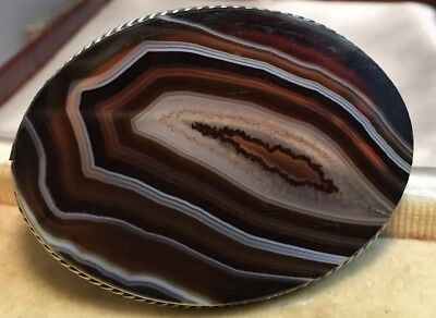 Antique Jewellery Fabulous very large banded agate brooch beautiful example