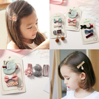 3PCS Girls cute flower bow small safety hairpins princess lovely headwearSPUK