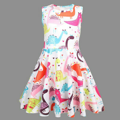 Toddler Kids Baby Girls Cute Dinosaur Print Tunic Casual Princess Party Dresses