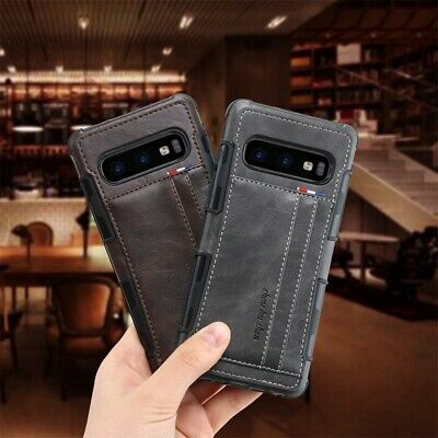 Genuine Leather Thin Slim Wallet Case for Samsung Galaxy S8 S9 Note 8 9 S10