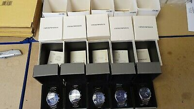 USED Emporio Armani Stainless-Steel AR5860 Quartz Watch Blue Dial Men's Watch