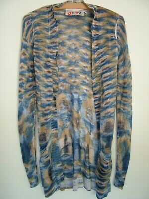 Vintage 70s Louis Caring Jump marble print woven rayon belted cardigan XS girls'