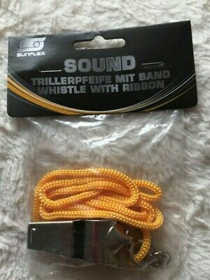 Sunflex Sound Whistle With Ribbon Football Rugby Coach Lifeguards Dog Training