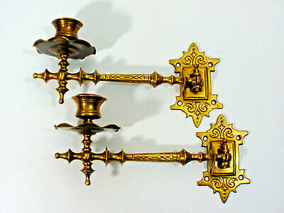 Antique Victorian Pair O.solid Brass Piano Wall Candleholders Sconces Ca.1900