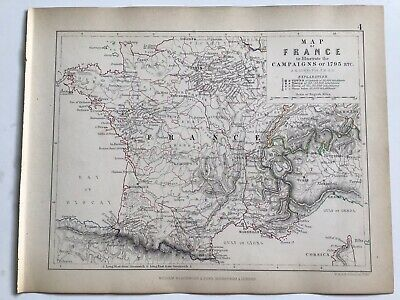 1793 Campaign Map Of FRANCE, Original 1850 Antique Map Battles, War, AK Johnston