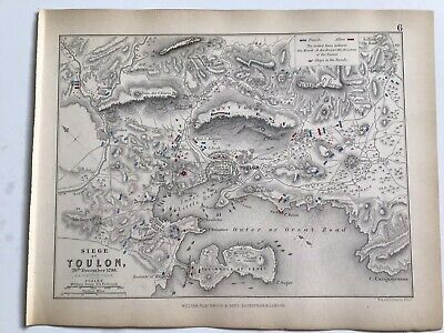 1793 Siege Of TOULON, Original 1850 Antique Campaign War Map, AK Johnston France