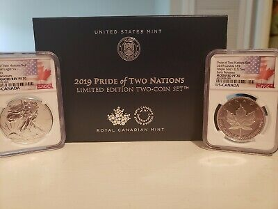 2019 Pride of Two Nations 2 Pc Set NGC PF 70 ER W Enhanced Reverse Proof Eagle