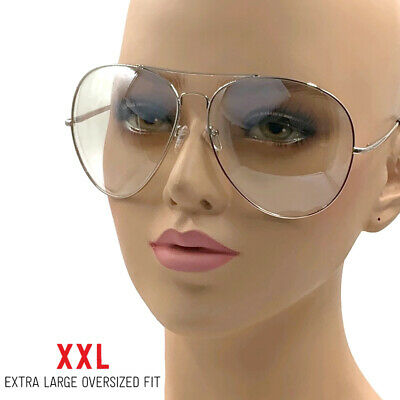 XXL Big Huge Extra Large Aviator Glasses Hipster Vintage Style Retro Clear Lens