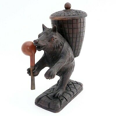 Antique Black Forest Hand Carved Bear Pipe Holder Stand Tobacco Humidor Jar Box,