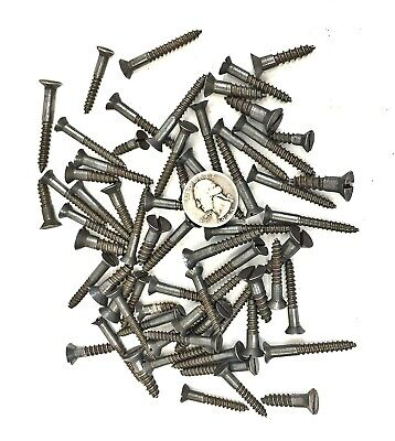 """Lot of 60 Antique WOOD SCREWS Slotted Counter Sunk 1""""-1 1/4""""-1 1/2"""" reclaimed"""