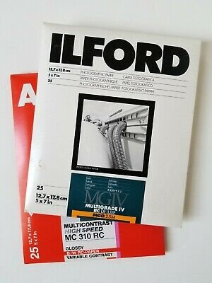 "2 packs of 5"" x 7"" B&W RC photo paper. 50 sheets. Agfa & Ilford"