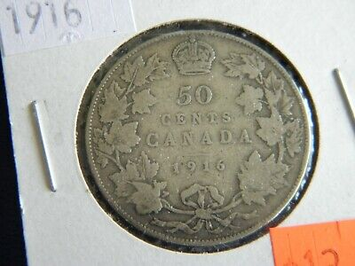1916 Canada Sterling Silver 50 Cent Piece-George V-11.66 Grams-0.925------19-397