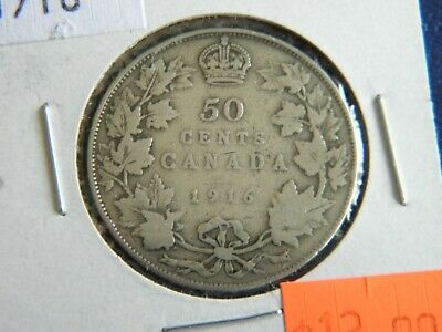 1916 Canada Silver 50 Cent-George V-11.66 Grams .925 Sterling Silver 19-398