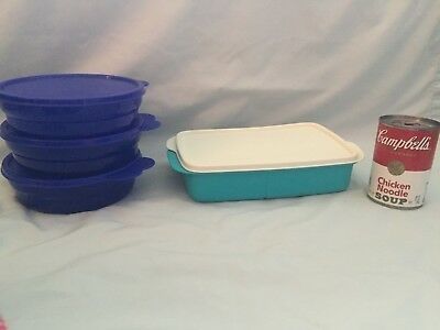 3 Tupperware Blue Big Wonders 3 Cup Bowl Containers & One Divided Lunch It Dish