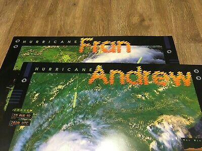 LOT OF 2 NASA NOAA Hurricane Posters ANDREW and FRAN two sided educational 24x24