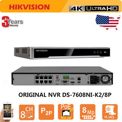 8 CHANNEL 4K H 265 NVR with 8 POE Ports, Hikvision OEM Model for USA