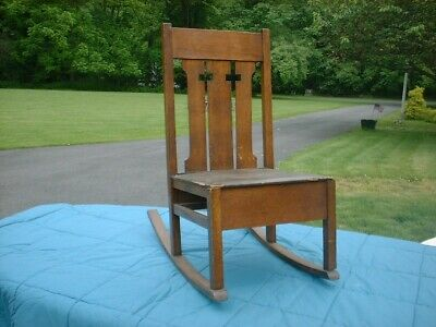 Vintage Mission Style Antique Oak Rocker with Religious Significance