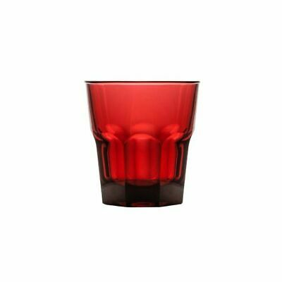 24x Polysafe Rocks Tumbler 240mL Polycarbonate Red Plastic Stackable Glass