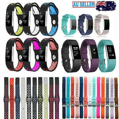 Fitbit Charge 2 Replacement Band Strap Sports Football Wristband Metal Buckle HR
