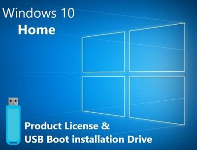 Microsoft Windows 10 Home USB Boot Install Drive & Genuine License (32&64bit)