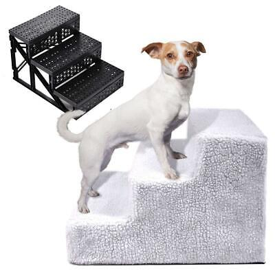 Pet Dog Ladder 3 Steps Soft Stairs Puppy Washable Cover Ramp Foldable Stairs New