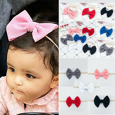 Girls Baby Nylon Hairband Knotted Big Bow Headband Turban Hair Accessories Hot