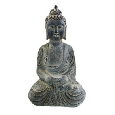 36 x 24 x 60cm Antique Grey Polyresin Buddha Garden Statue -