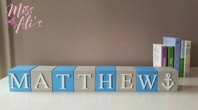 Personalised Wooden Name Blocks, Blue And Grey, Boys Nursery Decor, Baby Gift