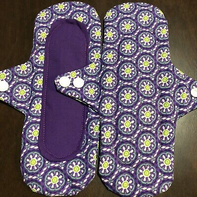 2 Reusable Cloth Menstrual Pads Regular Handmade Washable Print Fabric