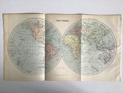 Old Antique Map 1891, Bartholomew, AK Johnston, The WORLD, E & W Hemispheres