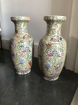 Pair Of Antique Qian Long Chinese Vase Chinoiserie Oriental Pink Urn