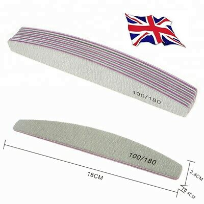 100/180 Grit Nail Files Professional Quality, Half Moon, Diamond, Curved Zebra
