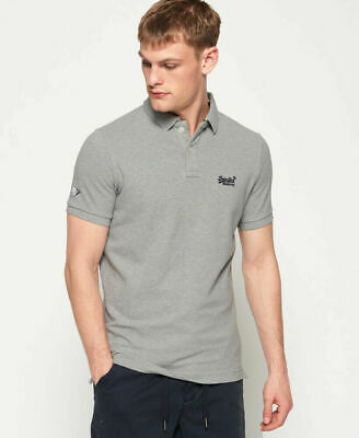 New Mens Superdry Classic Pique Short Sleeve Polo Shirt Grey Marl