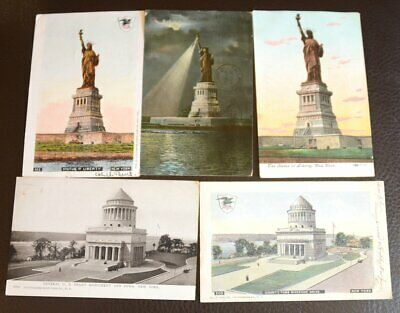 (5) Vintage 1903 NEW YORK Statue of Liberty & Grant's Tomb Riverside  Post Cards