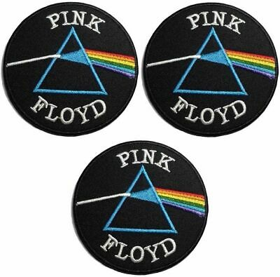 """Pink Floyd Dark Side of the Moon Logo 3"""" in Diameter Embroidered Patch Set of 3"""