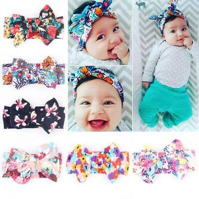 Vintage Adjustable Floral Flowers Baby Girls Headband Hair Band Bowknot Turban