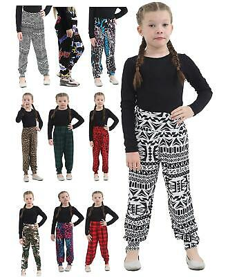 Kids Unisex Girls Boys Ali Baba Leggings Army Leopard Baggy Harem Pants Trousers