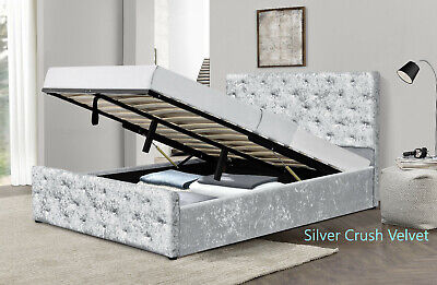 Crushed Velvet Diamante Chesterfield Ottoman Bed In Silver SINGLE DOUBLE KING