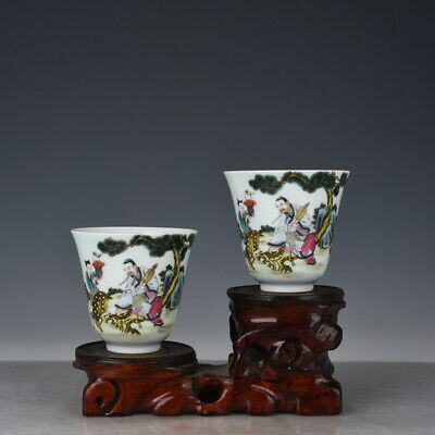 """4"""" Chinese old Porcelain yongzheng famille rose painting people Cup A Pair"""