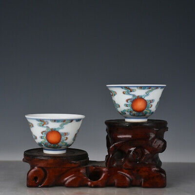 """3"""" Chinese old Porcelain yongzheng famille rose painting sunlight Cup Pair"""
