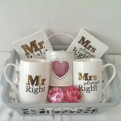 Wedding Day Anniversary Gift Hamper Basket Mr & Mrs Fine Bone China Tea Set