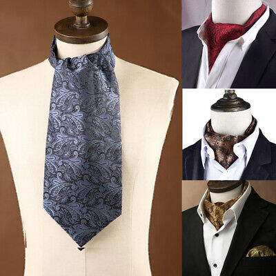 RF431RS Red Green Paisley Men Silk Cravat Scarves Ascot Tie Handkerchief Set