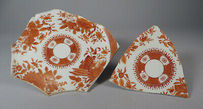 Antique Chinese orange Fitzhugh porcelain pieces for tile or mosaic see listing