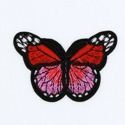 Red Mini Small Monarch Butterfly Embroidered-Iron On Patch bulk /Sew Applique