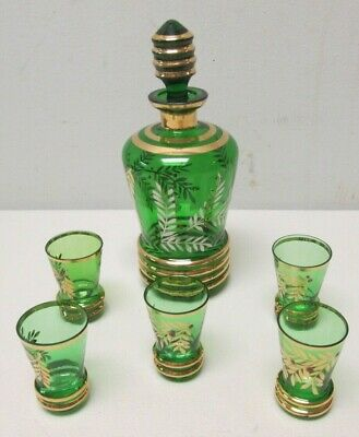 Bohemian Glass Cordial Set Emerald Green w/ Gold Leaves & Red Berries 5 glasses