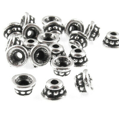 Silver Beaded 4mm Bead Caps, TierraCast Pewter (20 Pieces)